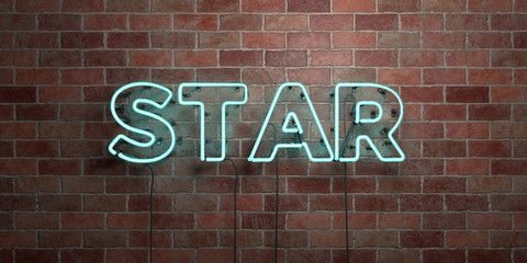 STAR - fluorescent Neon tube Sign on brickwork - Front view - 3D rendered royalty free stock picture. Can be used for online banner ads and direct mailers..