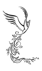 Decorative phoenix bird. Vector tattoo