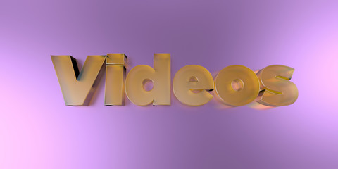 Videos - colorful glass text on vibrant background - 3D rendered royalty free stock image.