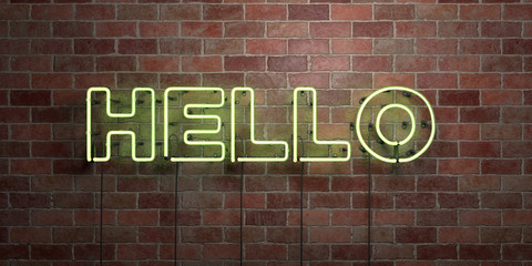 HELLO - fluorescent Neon tube Sign on brickwork - Front view - 3D rendered royalty free stock picture. Can be used for online banner ads and direct mailers..