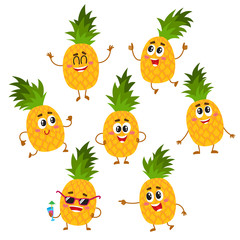 Set of cute and funny pineapple characters with happy faces, running, jumping, pointing, drinking cocktails, cartoon vector illustration isolated on white background. Pineapple characters, mascots