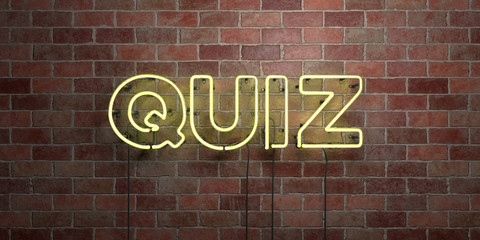 QUIZ - fluorescent Neon tube Sign on brickwork - Front view - 3D rendered royalty free stock picture. Can be used for online banner ads and direct mailers..