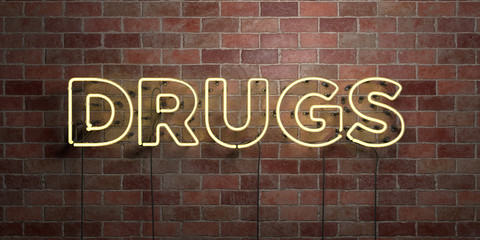 DRUGS - fluorescent Neon tube Sign on brickwork - Front view - 3D rendered royalty free stock picture. Can be used for online banner ads and direct mailers..