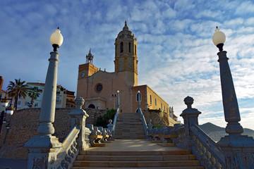Church of Saint Bartholomew and Saint Tecla at sunrise in Sitges. Spain.