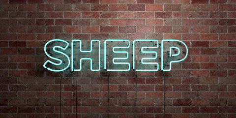 SHEEP - fluorescent Neon tube Sign on brickwork - Front view - 3D rendered royalty free stock picture. Can be used for online banner ads and direct mailers..
