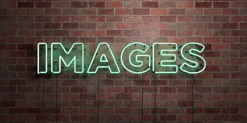 IMAGES - fluorescent Neon tube Sign on brickwork - Front view - 3D rendered royalty free stock picture. Can be used for online banner ads and direct mailers..