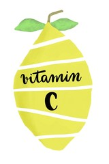 Vitamin C handwritten on sliced yellow lemon isolated on white