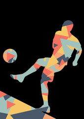Soccer men football players active sport silhouettes vector abstract mosaic background