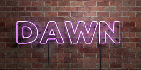 DAWN - fluorescent Neon tube Sign on brickwork - Front view - 3D rendered royalty free stock picture. Can be used for online banner ads and direct mailers..