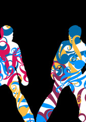 Boxing active young men box sport silhouettes vector abstract mosaic graphic background