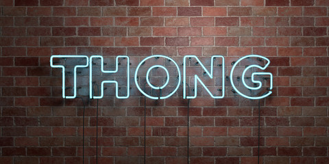 THONG - fluorescent Neon tube Sign on brickwork - Front view - 3D rendered royalty free stock picture. Can be used for online banner ads and direct mailers..
