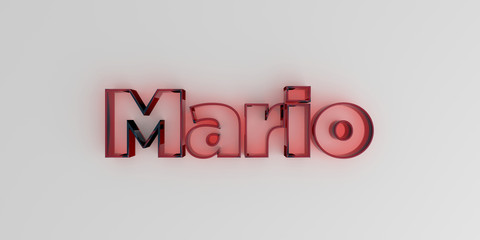 Mario - Red glass text on white background - 3D rendered royalty free stock image.