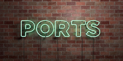 PORTS - fluorescent Neon tube Sign on brickwork - Front view - 3D rendered royalty free stock picture. Can be used for online banner ads and direct mailers..