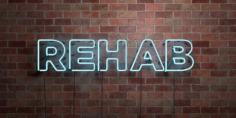 REHAB - fluorescent Neon tube Sign on brickwork - Front view - 3D rendered royalty free stock picture. Can be used for online banner ads and direct mailers..