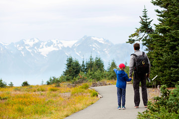 family enjoying olympic national park