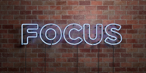 FOCUS - fluorescent Neon tube Sign on brickwork - Front view - 3D rendered royalty free stock picture. Can be used for online banner ads and direct mailers..