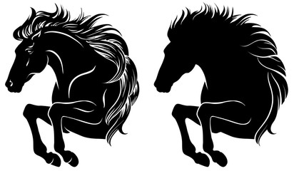 Set of clip-art of jumping horse, isolated on white