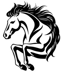 Clip-art of jumping horse with long mane