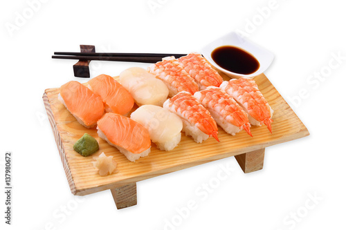 nigiri sushi set on a white background stockfotos und. Black Bedroom Furniture Sets. Home Design Ideas