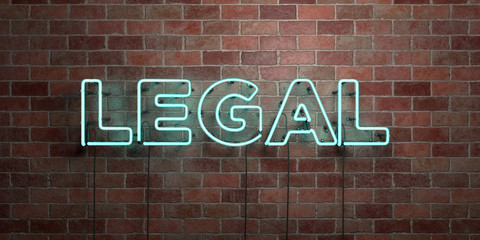 LEGAL - fluorescent Neon tube Sign on brickwork - Front view - 3D rendered royalty free stock picture. Can be used for online banner ads and direct mailers..