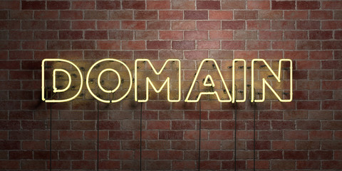 DOMAIN - fluorescent Neon tube Sign on brickwork - Front view - 3D rendered royalty free stock picture. Can be used for online banner ads and direct mailers..
