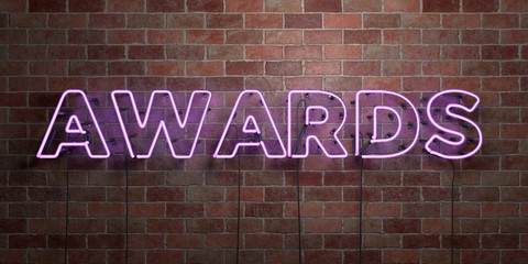AWARDS - fluorescent Neon tube Sign on brickwork - Front view - 3D rendered royalty free stock picture. Can be used for online banner ads and direct mailers..