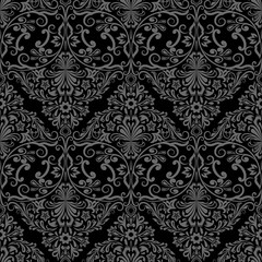 Seamless monochrome black and grey floral vector wallpaper pattern.