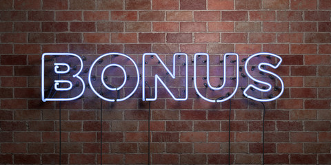 BONUS - fluorescent Neon tube Sign on brickwork - Front view - 3D rendered royalty free stock picture. Can be used for online banner ads and direct mailers..