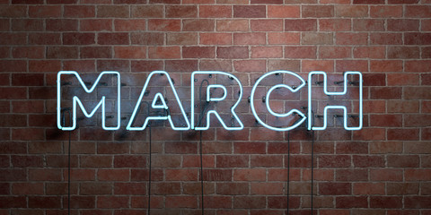 MARCH - fluorescent Neon tube Sign on brickwork - Front view - 3D rendered royalty free stock picture. Can be used for online banner ads and direct mailers..