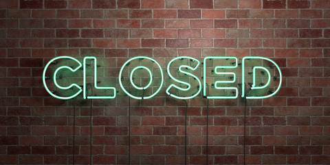 CLOSED - fluorescent Neon tube Sign on brickwork - Front view - 3D rendered royalty free stock picture. Can be used for online banner ads and direct mailers..