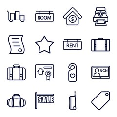 Set of 16 tag outline icons