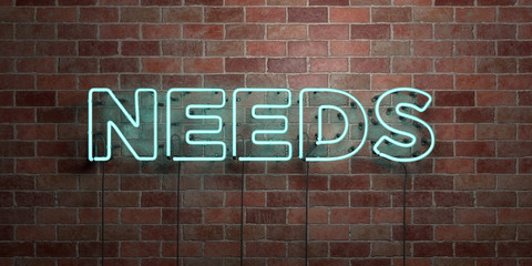 NEEDS - fluorescent Neon tube Sign on brickwork - Front view - 3D rendered royalty free stock picture. Can be used for online banner ads and direct mailers..