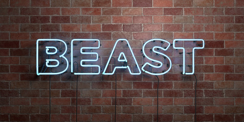 BEAST - fluorescent Neon tube Sign on brickwork - Front view - 3D rendered royalty free stock picture. Can be used for online banner ads and direct mailers.. Fotoväggar