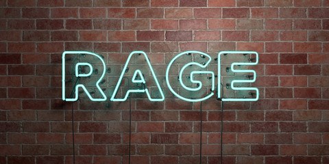 RAGE - fluorescent Neon tube Sign on brickwork - Front view - 3D rendered royalty free stock picture. Can be used for online banner ads and direct mailers..