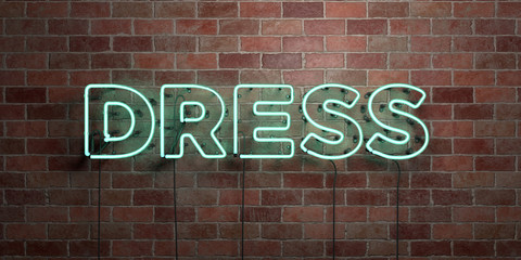 DRESS - fluorescent Neon tube Sign on brickwork - Front view - 3D rendered royalty free stock picture. Can be used for online banner ads and direct mailers..