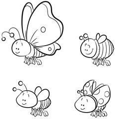 Vier niedliche Insekten Vektor-Illustration