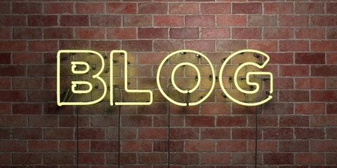 BLOG - fluorescent Neon tube Sign on brickwork - Front view - 3D rendered royalty free stock picture. Can be used for online banner ads and direct mailers..