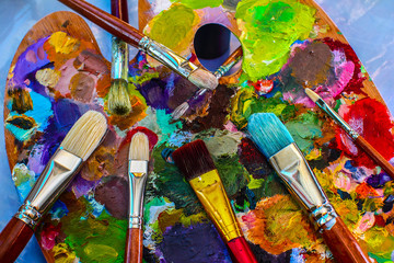 Artistic brushes and palette