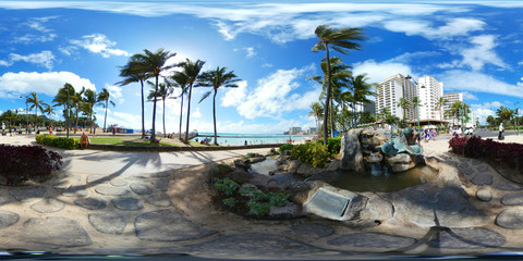 360 vr image of Waikiki Beach Hawaii,USA
