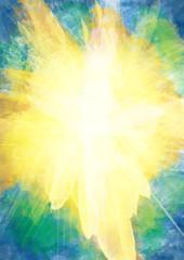 White cross on bursting light rays background, abstract Christian Easter illustration