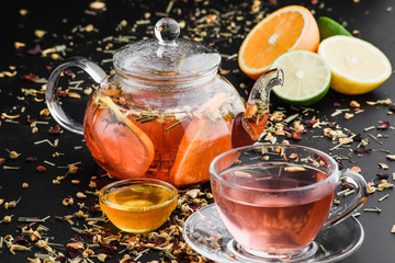 herbal tea with fruits and honey