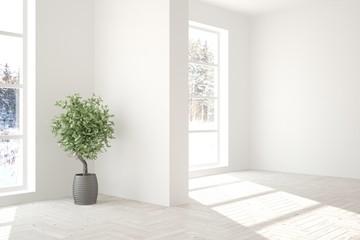 White empty room with winter landscape in window. Scandinavian interior design