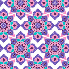 Seamless pattern. Decorative pattern with mandalas in beautiful colors. Vector background.