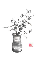 Vase with berries Japanese style sumi-e painting.