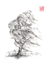 Willow tree in the wind Japanese style sumi-e ink painting.