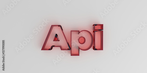 api red glass text on white background 3d rendered royalty free