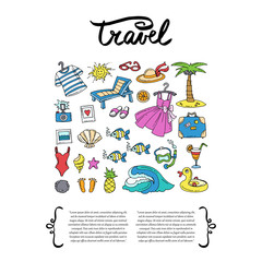 Cover with hand drawn colored symbols of travel. Set on the theme of sea, summer and recreation