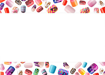 Beautiful false nails, nail polish sample, frame for text