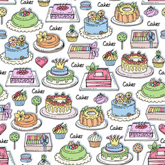 Vector seamless pattern with hand drawn colored cakes. Pattern on the theme of sweets,  confectionery