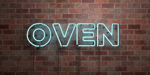 OVEN - fluorescent Neon tube Sign on brickwork - Front view - 3D rendered royalty free stock picture. Can be used for online banner ads and direct mailers..